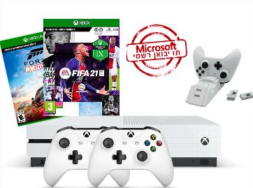 Microsoft Xbox One S 1TB עם 2 שלטים + משחק לבחירה + מטען זוגי מקורי לשלטים + משחק נוסף מתנה מהחנות