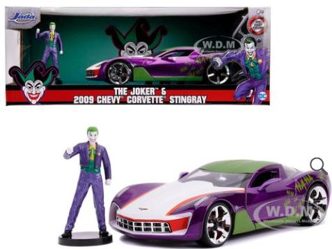 JADA (11998) 2009 Chevrolet Corvette Stingray with Joker Diecast Figure DC Comics Series 1/24 Diecast Model Car