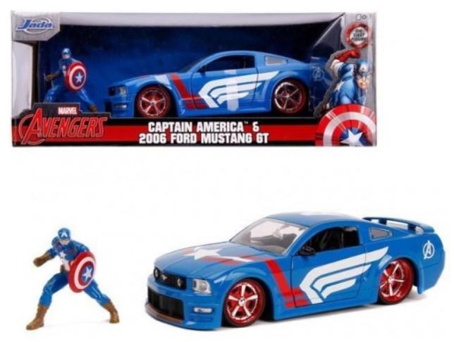 מכונית Jada Toys Hollywood Rides - Captain America - 2006 Ford Mustang GT 1:24 Scale