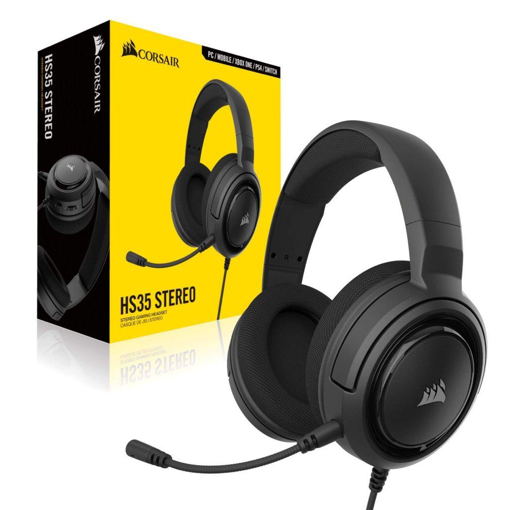 אוזניות גיימרים חוטיות Corsair - HS35 Stereo  צבע שחור