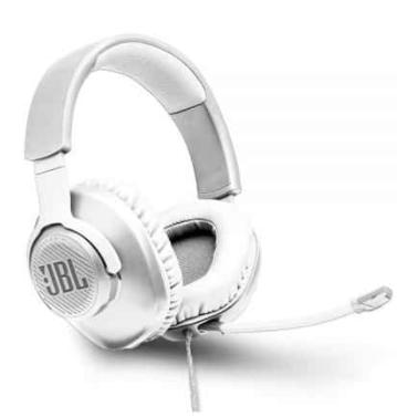 אוזניות גיימינג JBL QUANTUM 100 צבע לבן יבואן רשמי