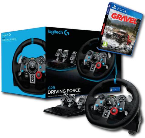 הגה PS4 Logitech G29 + PS4 GRAVEL או משחק מכוניות אחר לבחירה