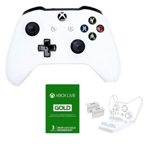 בקר Xbox One Wireless Controller צבע לבן הכולל מנוי ל 3 חודשים + מטען