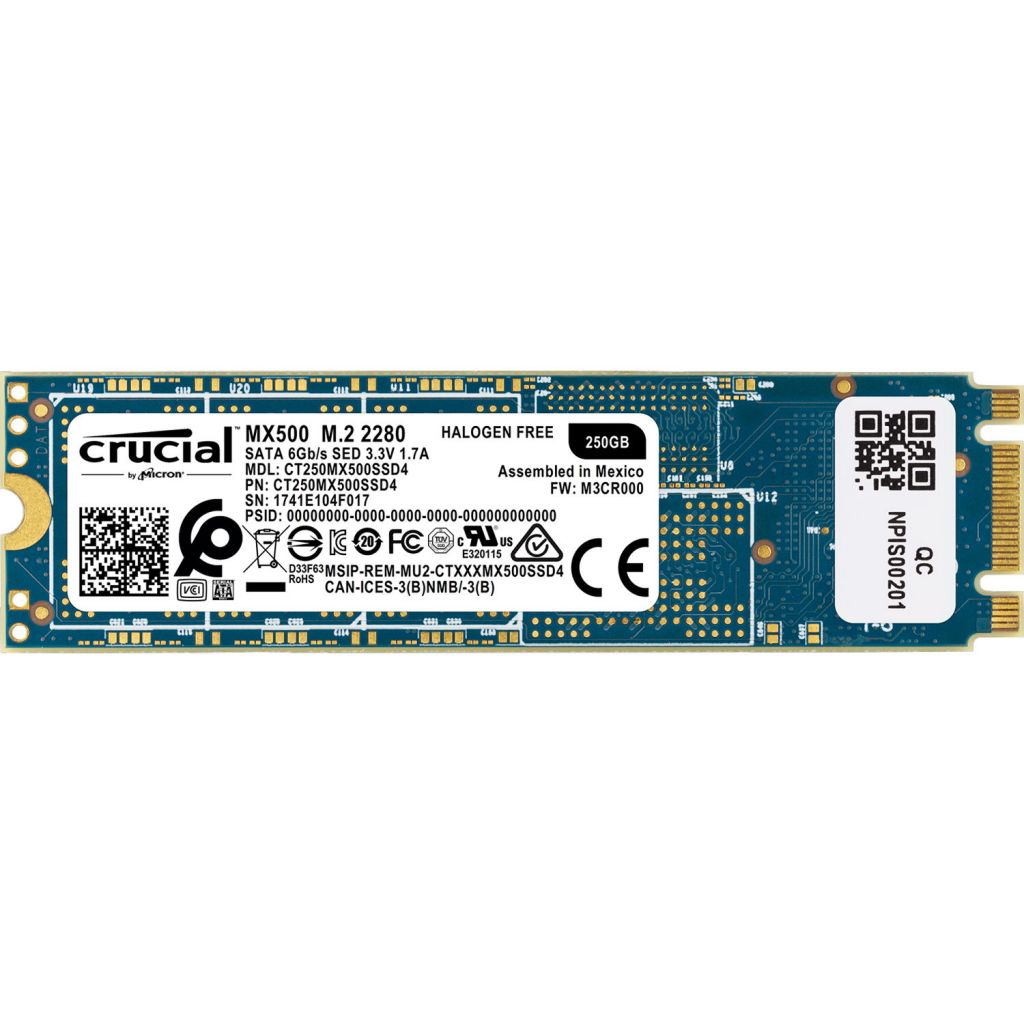 דיסק CRUCIAL MX500 250GB M2 2280 CT250MX500SSD4
