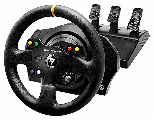 הגה מירוצים עם דוושות Thrustmaster TX-RW Leather Edition Feedback לאקסבוקס ONE ולמחשב PC