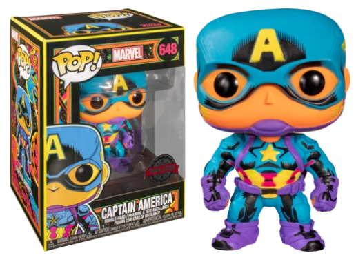 Funko Pop! Marvel: Black Light - Captain America #648