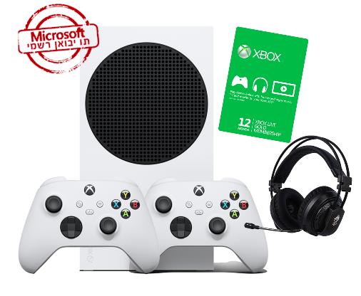 Xbox Series S 512GB עם 2 שלטים+מנוי אונליין לשנה+אוזניות גיימינ ואחריות יבואן רישמי