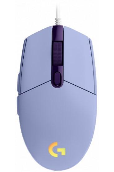 עכבר גיימרים חוטי Logitech G102 Lightsync - סגול