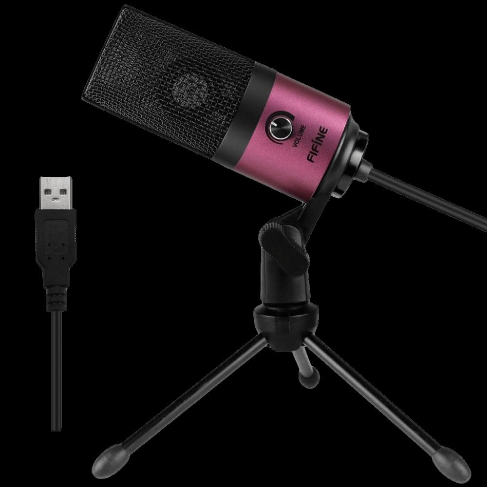 מיקרופון עם חצובה FIFINE K669 ורוד