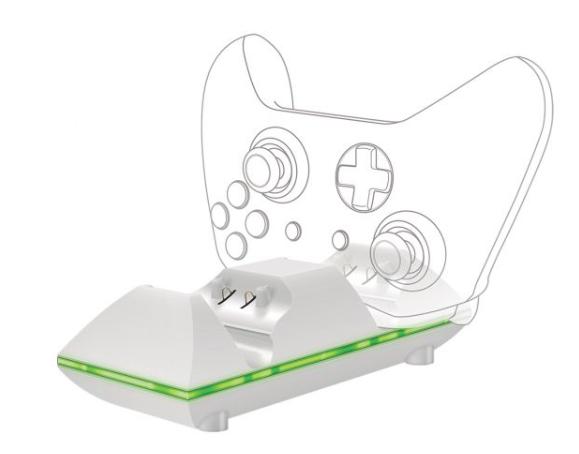 מטען כפול + זוג סוללות נטענות לזוג שלטים אלחוטיים לקונסולת משחק Xbox One מבית SPARKFOX
