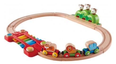 סט רכבת מעץ קופים וצלילים HAPE