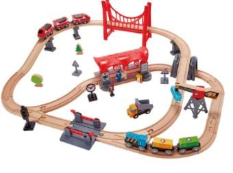 סט מסילות רכבת ענק מעץ - העיר הגדולה HAPE
