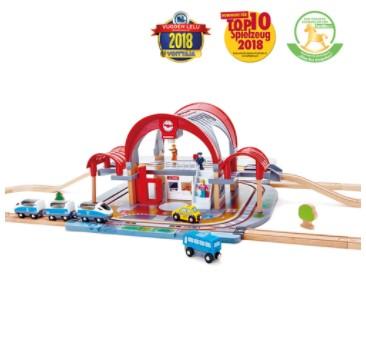 סט מסילות רכבת ענק מעץ - תחנה מרכזית - HAPE