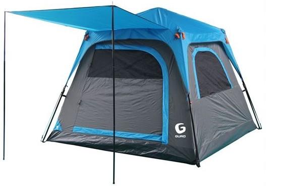 אוהל פתיחה מהירה ל-4 אנשים Guro Panorama V2 - אפור/כחול