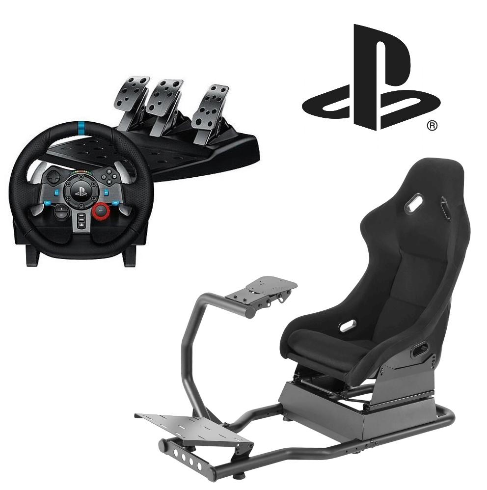 ערכת נהיגה מטורפת לסוני 4/5 ולמחשב - מושב Speedseat V1+הגה ודוושות G29 של לוגיטק