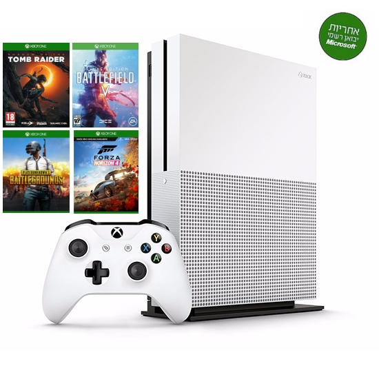 Xbox One S 1000GB + שלט  + 4 משחקים  + מנוי גולד + הגדרה והתקנה