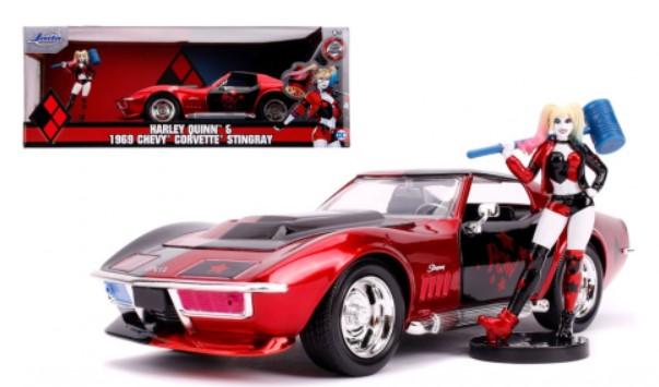 מכונית Jada Toys Hollywood Rides - Harley Quinn 69 Corvette 1:24 Scale