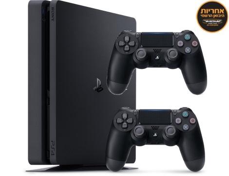 Sony Playstation 4 1TB Slim עם שני שלטים + משחק + אחריות של היבואן הרישמי